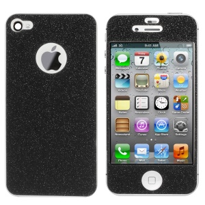 Flash Powder Front & Back Decal Sticker for iPhone 4s 4 - Black
