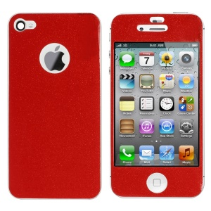 Flash Powder Front & Back Decal Sticker for iPhone 4s 4 - Red