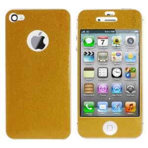 Flash Powder Front & Back Sticker Skin for iPhone 4s 4 - Gold