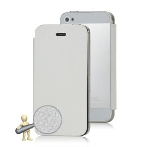 Matte iPhone 4S Back Cover Housing w/ Leather Skin Front Flip Case - White / Silver
