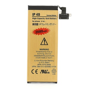 High-Capacity Gold Battery Replacement for iPhone 4S 3.7V 2680mAh