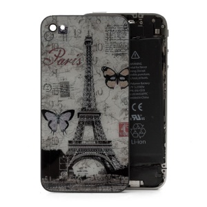 Paris Eiffel Tower Butterfly Glass Back Cover Housing Battery Door for iPhone 4S