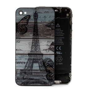 Famous Eiffel Tower Pattern Glass Back Cover Housing for iPhone 4S