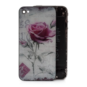 Beautiful Rose Romantic Glass Back Housing Cover for iPhone 4S
