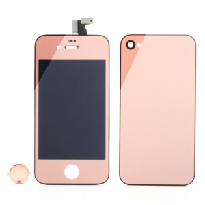 Rose Gold Electroplating Mirror-like Conversion Kit for iPhone 4S (LCD Assembly + Back Cover + Home Button)