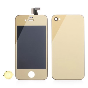 Gold Plated Mirror-like Conversion Kit for iPhone 4S (LCD Assembly + Back Cover + Home Button)