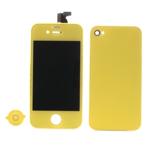 Yellow for iPhone 4S Colored Conversion Kit (LCD Assembly + Battery Cover + Home Button)