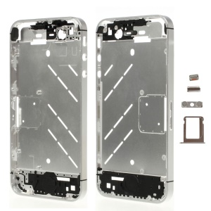 Silver for iPhone 4s Matte Metal Middle Plate + Buttons + SIM Card Tray + Phillips Screw