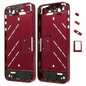 Red Matte Metal Middle Plate + Buttons + SIM Card Tray + Phillips Screw for iPhone 4s