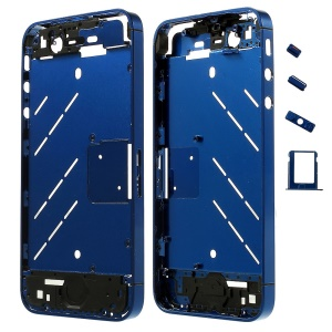 Blue for iPhone 4s Matte Metal Middle Plate + Buttons + SIM Card Tray + Phillips Screw