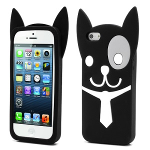 3D Lovely Dog Silicone Jelly Case for iPhone 5 5s - Black