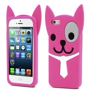 3D Lovely Dog Silicone Jelly Cases for iPhone 5 5s - Rose