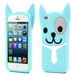 3D Lovely Dog Silicone Jelly Cover Shell for iPhone 5 5s - Blue