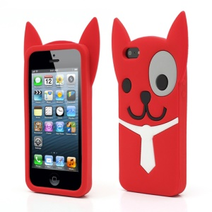 3D Lovely Dog Silicone Rubber Case Shell for iPhone 5 5s - Red