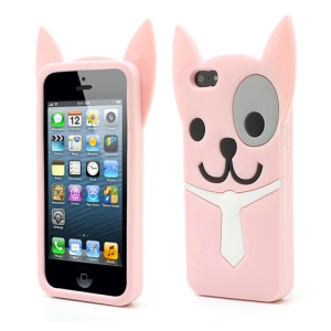 3D Lovely Dog For iPhone 5 5s Silicone Rubber Case Cover - Pink