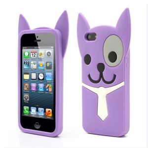 3D Lovely Dog For iPhone 5 5s Silicone Case Shell - Purple