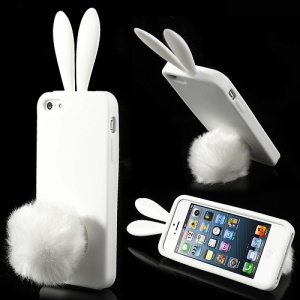 White Rabbit Silicone Cover for iPhone 5 5s w/ Velvet Tail Stand