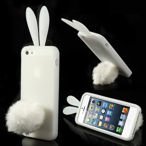 Transparent Rabbit Silicone Cover for iPhone 5 5s w/ Velvet Tail Stand