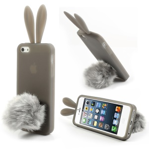 Grey Rabbit Soft Silicone Cover for iPhone 5 5s w/ Velvet Tail Stand