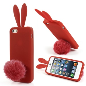 Red Rabbit Soft Silicone Gel Case for iPhone 5 5s w/ Velvet Tail Stand