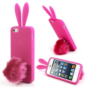 Rose Rabbit Design for iPhone 5 5s Silicone Case w/ Velvet Tail Stand
