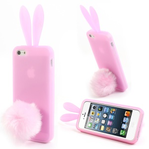 Pink Rabbit Design for iPhone 5 5s Silicone Case w/ Velvet Tail Stand