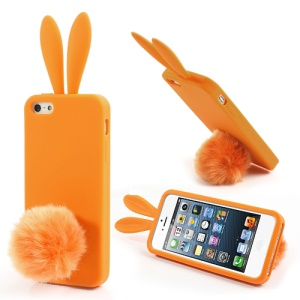 Orange Rabbit for iPhone 5 5s Silicone Case w/ Velvet Tail Stand