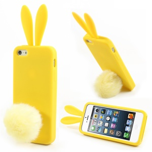 Yellow Rabbit for iPhone 5 5s Silicone Case w/ Velvet Tail Stand
