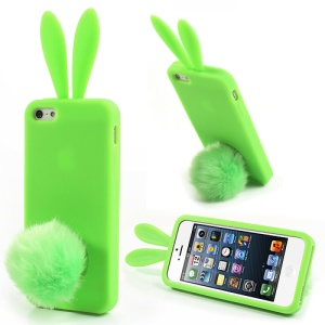 Green Rabbit for iPhone 5 5s Silicone Case w/ Velvet Tail Stand