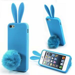 Blue for iPhone 5 5s Rabbit Silicone Case w/ Velvet Tail Stand