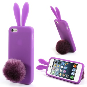 Purple for iPhone 5 5s Rabbit Silicone Case w/ Velvet Tail Stand
