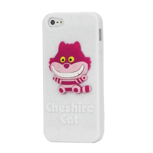 Smiley 3D Cheshire Cat Soft Silicone Case Cover for iPhone 5 - White