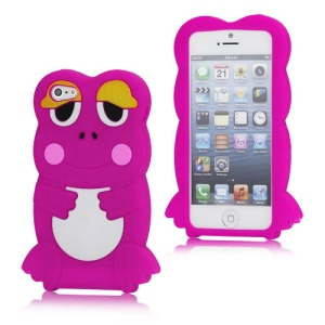 3D Lovely Frog Protective Soft Silicone Case Cover for iPhone 5 - Rose
