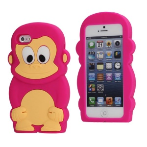 Cute 3D Monkey Shaped Soft Protective Silicone Jelly Case for iPhone 5 - Rose