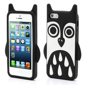 Adorable Owl Design Soft Silicone Skin Case Cover for iPhone 5 - Black