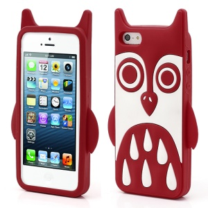 Adorable Owl Design Soft Silicone Skin Case Cover for iPhone 5 - Red