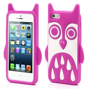Adorable Owl Design Soft Silicone Skin Case Cover for iPhone 5 - Rose