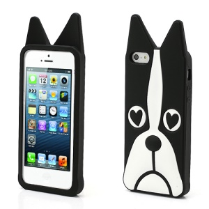3D Dog Shaped Flex Silicone Gel Case Cover for iPhone 5 - Black