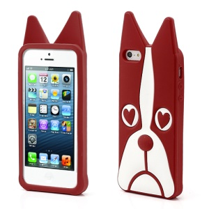 3D Dog Shaped Flex Silicone Gel Case Cover for iPhone 5 - Red