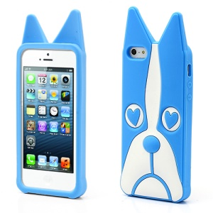 3D Dog Shaped Flex Silicone Gel Case Cover for iPhone 5 - Blue