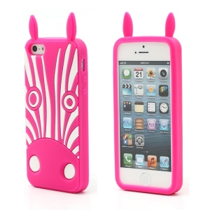 3D Hippo Flex Silicone Gel Protective Case for iPhone 5 - Rose