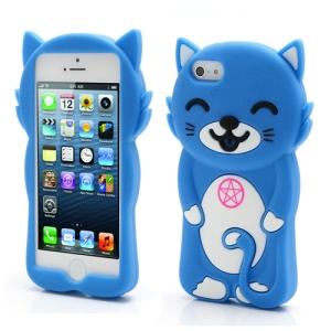 3D Smiley Cat Soft Silicone Gel Jelly Case Shell for iPhone 5 - Blue
