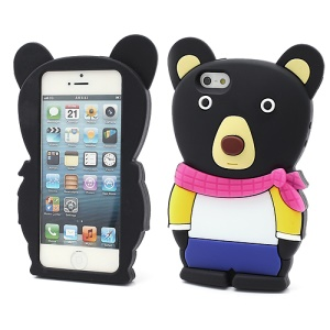 3D Cute Little Bear Shaped Soft Silicone Cover Case for iPhone 5 - Black