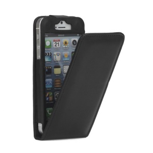 Vertical PU Leather Flip Case Cover for iPhone 5 - Black