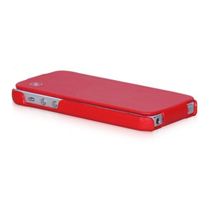 HOCO Duke Vertical Genuine Leather Flip Case Cover for iPhone 5 5s - Red