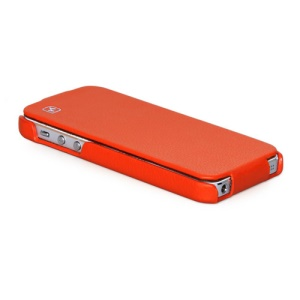 HOCO Duke Vertical Genuine Leather Flip Case Cover for iPhone 5 5s - Orange