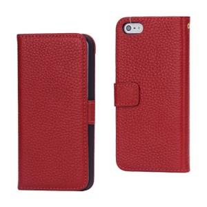 Magnetic Folio Litchi Grain Genuine Leather Case Cover for iPhone 5 - Red