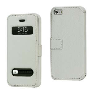 Magnetic Lychee Genuine Leather Case Cover with Functional Cutouts for iPhone 5 - White