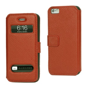 Magnetic Lychee Genuine Leather Case Cover with Functional Cutouts for iPhone 5 - Orange