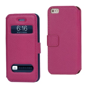 Magnetic Lychee Genuine Leather Case Cover with Functional Cutouts for iPhone 5 - Rose